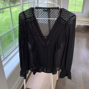 Zara TRF Sheer black blouse